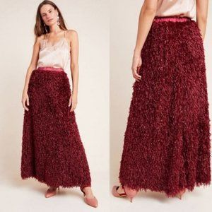 NWT Anthropologie Chantal Feathered Maxi Skirt Win